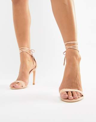 Glamorous pink ankle tie heeled sandals