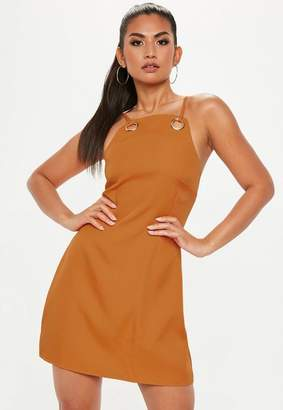 Missguided Orange Strappy Eyelet A Line Dress