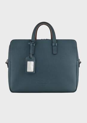 Giorgio Armani Vertical Briefcase In Full-Grain Calf-Skin Leather