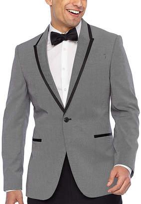 Jf J.Ferrar Black White Pattern Slim Fit Stretch Tuxedo Jacket