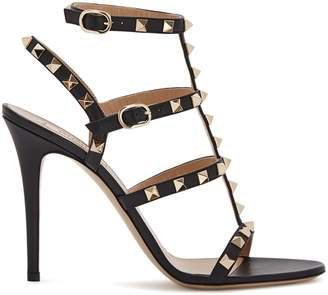 Valentino Rockstud 100 Black Leather Sandals