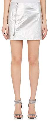 Paco Rabanne WOMEN'S PAPER-WEIGHT LEATHER MINISKIRT