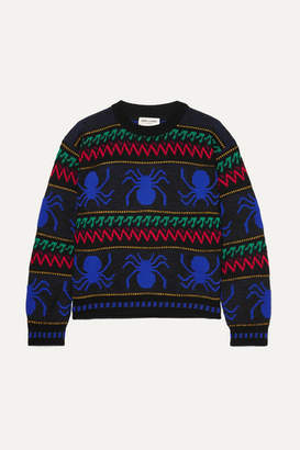 Saint Laurent Intarsia Wool Sweater - Black abcda3446
