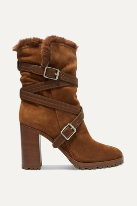Gianvito Rossi 85 Buckled Leather-trimmed Suede Ankle Boots - Tan