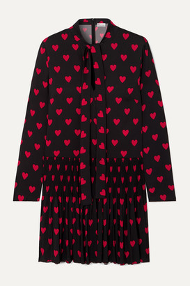 RED Valentino Pleated Printed Crepe De Chine Mini Dress - Black