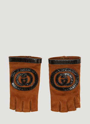 Gucci Logo Suede Fingerless Gloves in Brown