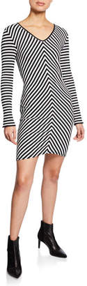 Rag & Bone Halifax Striped V-Neck Long-Sleeve Mini Dress