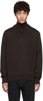 BOSS Brown Virgin Wool B-Curator Mock Neck Sweater