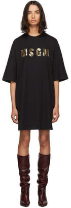 MSGM Black Sequinned Logo T-Shirt Dress