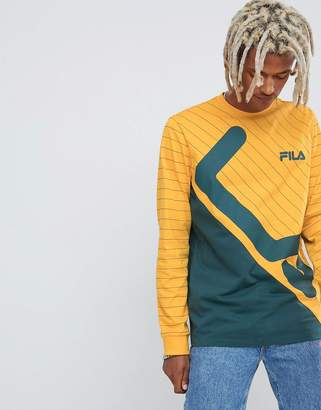 Fila Black Line Harrison Striped Panel Long Sleeve T-Shirt In Yellow