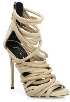 Giuseppe Zanotti Cam Pallido Strappy Suede Sandals $1,150 thestylecure.com