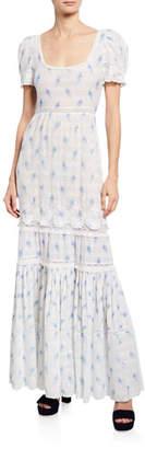 LoveShackFancy Ryan Short-Sleeve Floral Lace Maxi Dress