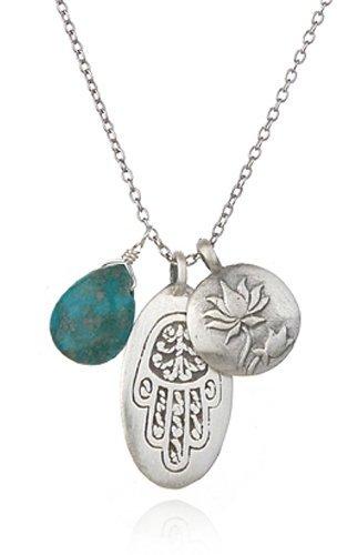 Satya Jewelry Silver Turquoise, Hamsa, Lotus Charm Necklace