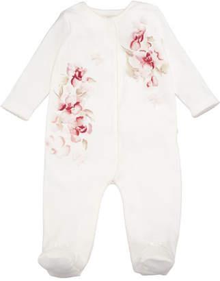 Miniclasix Rosettes & Floral Footie Pajamas, Size 3-9 Months
