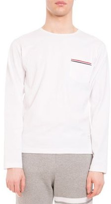 Thom Browne Striped-Trim Long-Sleeve Crewneck T-Shirt, White $390 thestylecure.com