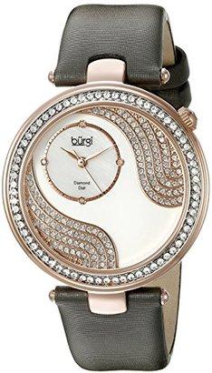 Burgi レディースbur155gyローズゴールドQuartz Watch with Swarovskiクリスタルとダイヤモンド母のパールダイヤルグレーサテンストラップ
