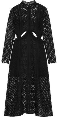 Self-Portrait Cutout Guipure Lace Midi Dress - Black