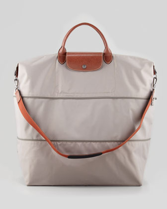Longchamp Le Pliage Expandable Travel Tote Bag, Light Gray