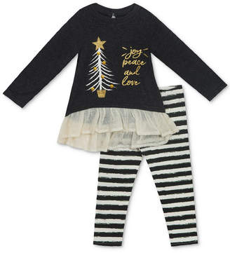 Rare Editions 2-Pc. Knit Holiday Tunic & Striped Leggings Set, Baby Girls (0-24 months)