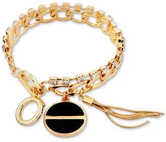 GUESS Gold-Tone Crystal, Jet Stone & Tassel Charm Bracelet