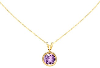 Gemstone Round Bezel Set Pendant w/ Chain, 14K Gold