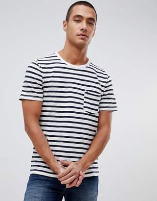 Abercrombie & Fitch breton stripe icon logo t-shirt in white/navy stripe