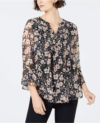 Charter Club Printed Pintucked Top