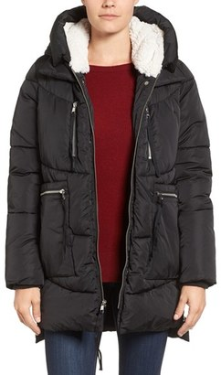 Women's Steve Madden Hooded Puffer Jacket With Faux Shearling Trim $150 thestylecure.com
