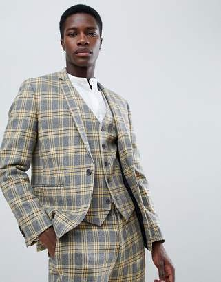 Asos DESIGN skinny suit jacket in yellow plaid check