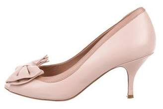 RED Valentino Leather Bow-Adorned Pumps