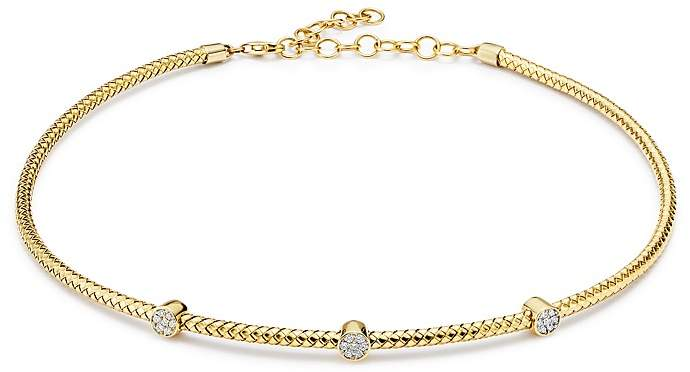 Bloomingdale's Diamond Cluster Trio Cable Choker Necklace in 14K Yellow Gold, 0.20 ct. t.w. - 100% Exclusive