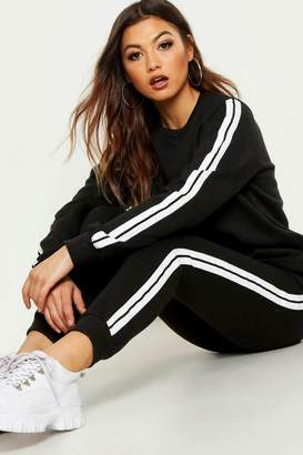 boohoo Stripe Sweater & Jogger Tracksuit