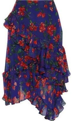 Caroline Constas Asymmetric Ruffled Floral-print Silk-chiffon Skirt