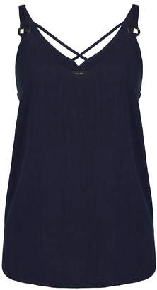 ec2b3c069488c Dorothy Perkins Womens Navy Blue Ring Strap Camisole Top