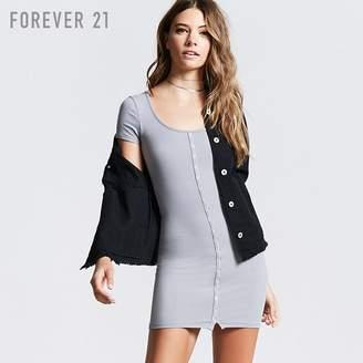 Forever 21 (フォーエバー 21) - Forever 21 フロントボタンラインリブタイトミニワンピース
