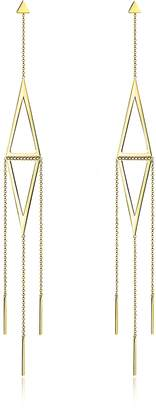 Thomas Sabo Yellow Gold Sterling Silver Double triangle Long Pendant Earrings w/White Zirconia