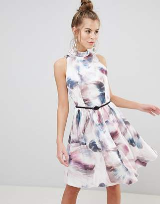 Little Mistress High Neck Prom Dress In WATERCOLOR Print