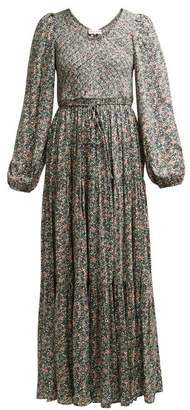 Apiece Apart Olivia Shirred Floral Print Jersey Dress - Womens - Green Multi