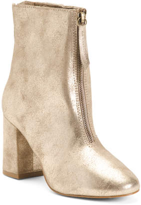 Made In Brazil Leather Front Zip Booties