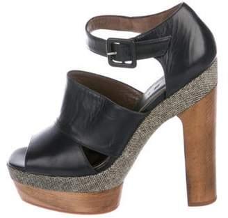 Marni Leather Platform Sandals Navy Leather Platform Sandals
