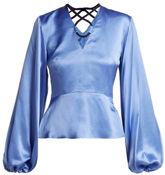 Roksanda Lada V Neck Silk Blouse - Womens - Blue Multi