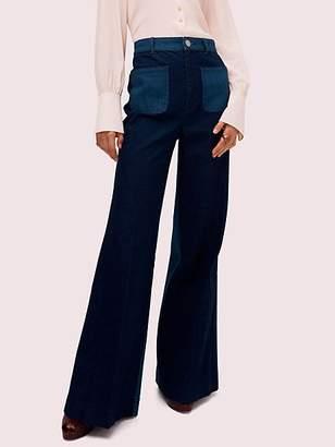 Kate Spade Colorblock Denim Flare Pant, Dark Indigo - Size 24