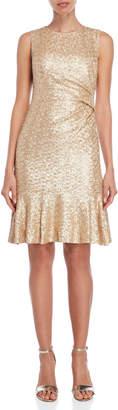Eliza J Gold Sequin Flared Dress