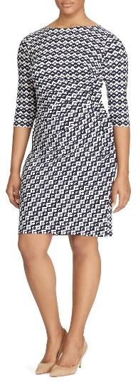 Lauren Ralph LaurenPlus Size Women's Lauren Ralph Lauren Geo Print Sheath Dress