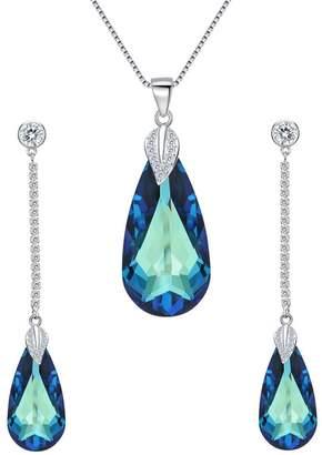 Swarovski EleQueen 925 Sterling Silver CZ Teardrop Leaf Pendant Necklace Long Dangle Earrings Set Adorned with Crystals