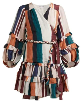 Apiece Apart Zarza Striped Linen Blend Wrap Dress - Womens - Multi