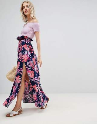 Asos Maxi Skirt with Belt and Thigh Split in Tropical Print