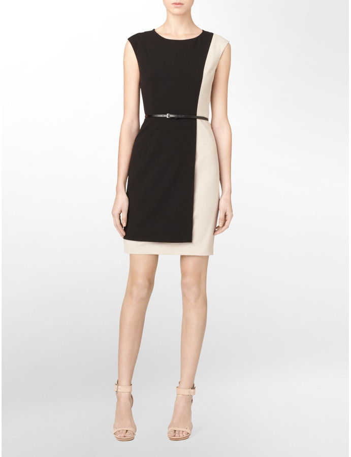 Calvin Klein Womens Luxe Belted Colorblock Dress