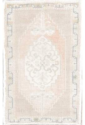 """Bungalow Rose One-of-a-Kind Tennessee Turkish Muted Hand-Knotted 1'9"""" x 2'8"""" Wool Beige/Ivory Area Rug"""