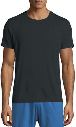 Derek Rose Crewneck Short-Sleeve Knit Tee, Anthracite